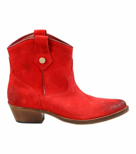 Red calfskin leather Ankle Boots