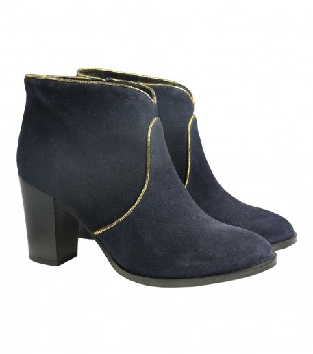 navy blue suede ankle boots with heel