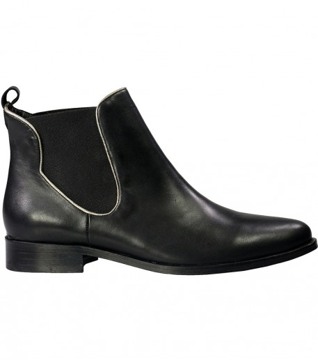 Elasticated black ankle boots silver trim