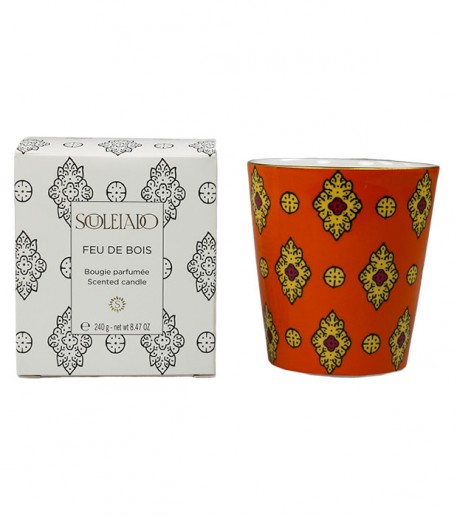 "Wood fire scented candle, orange ""Merveille"" design"