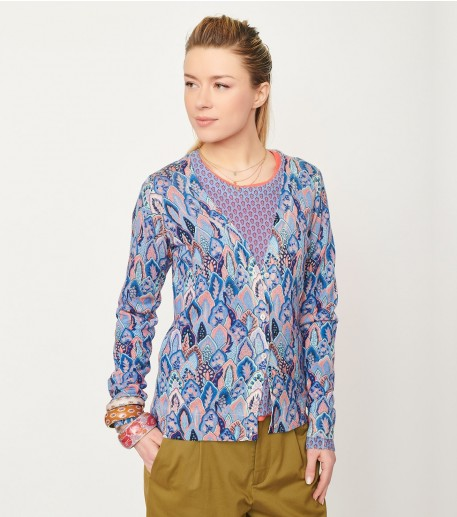 """OLIVIA """"Plume"""" cardigan blue and coral"""