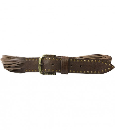 Slashed leather belt with rivets