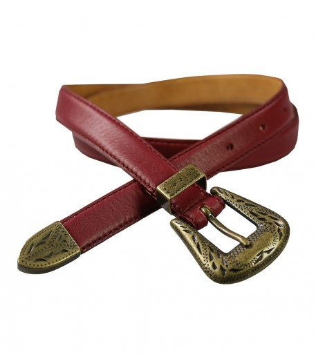 narrow burgundy leather belt with buckle detail