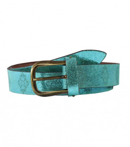 "Turquoise iridescent ""Merveille"" leather belt"