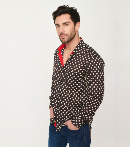 """CLASSIC fit """"Gipsy"""" shirt black and beige"""