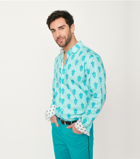 chemise SLIM Grosse Mouche turquoise
