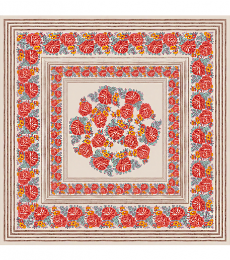 Châle en coton CHANTAL 135*135 camel & rose