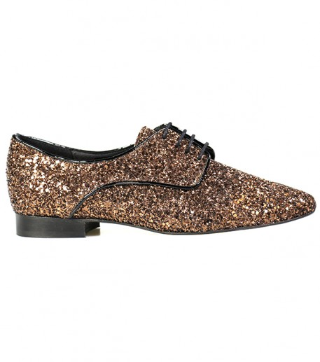 Womens lace-up shoes in bronze colour sequined leather