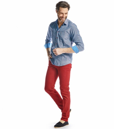 Iza red denim trousers