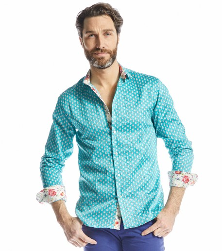 Talia men's turquoise slim fit shirt