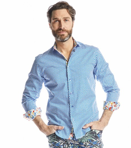 Cosmic men's blue slim fit shirt