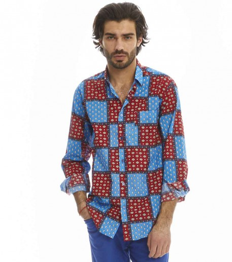 "Chemise  ''TRADITION"" bleu/rouge"