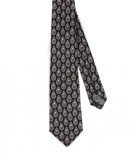 """Tweedy"" black/red silk tie"