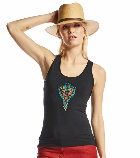 Yogi black top with Barocco embroidery