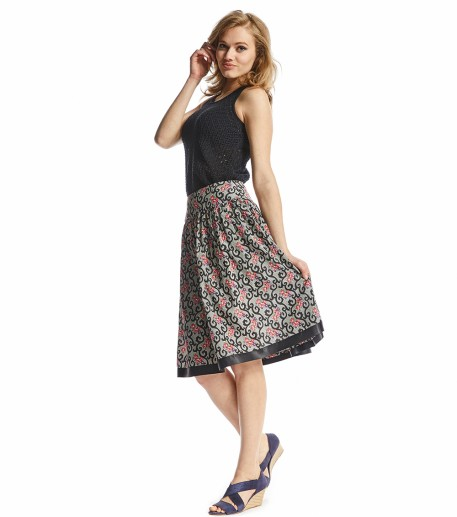 Valley of roses black Carmen print skirt