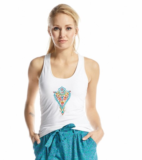Yogi white top with Barocco embroidery