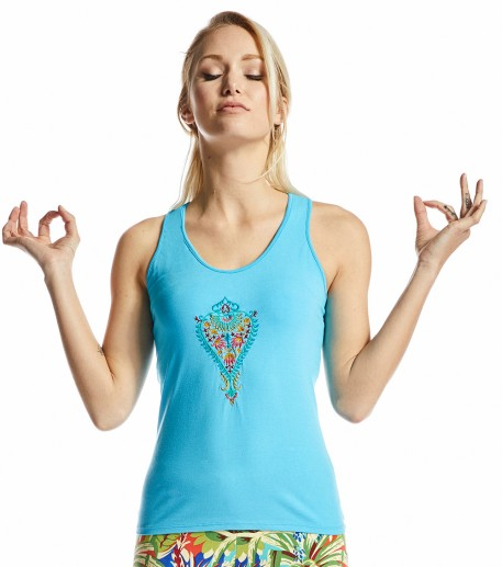 Yogi blue top with Barocco embroidery
