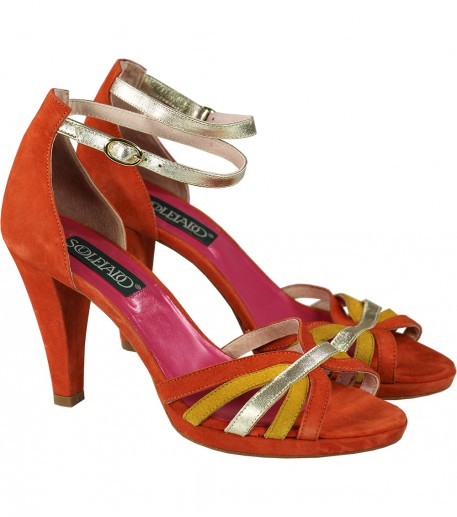 Two-tone orange and yellow heeled sandals gold leather trim