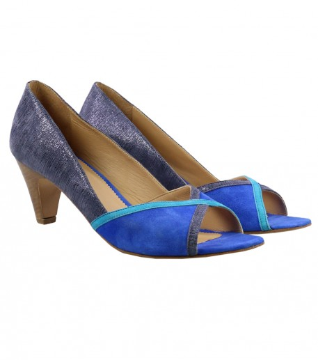 Blue and turquoise peep toe heeled shoes