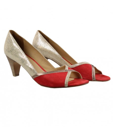 Red and gold peep toe heeled shoes