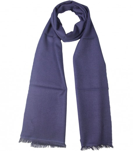 Navy blue cashmere and silk long scarf