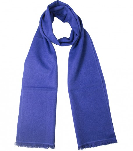 Denim blue cashmere and silk long scarf