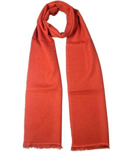 Orange cashmere and silk long scarf