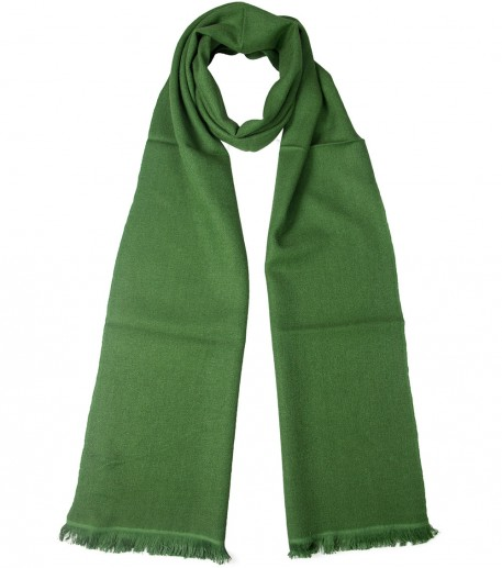 Green cashmere and silk long scarf