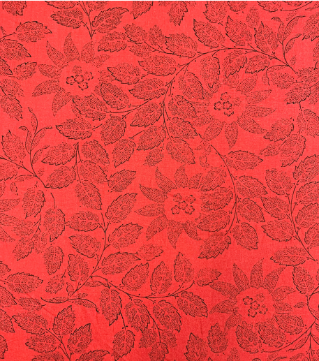FLORAL red cotton fabric