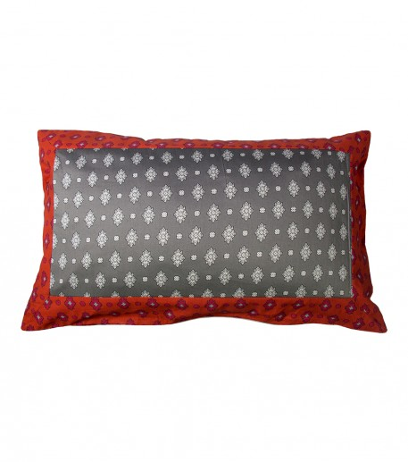 "Rectangular cushion cover coral and grey ""Merveilles"""