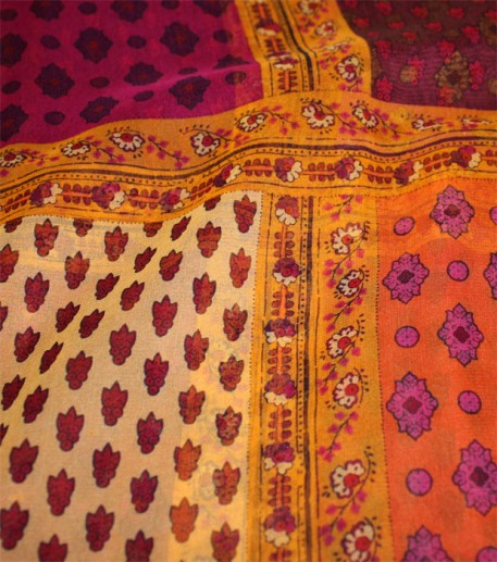 """L'italienne"" orange and purple silk mousseline shawl 140x 140 cm"