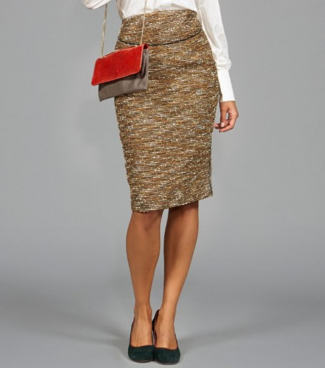 Ana gold tweed pencil skirt