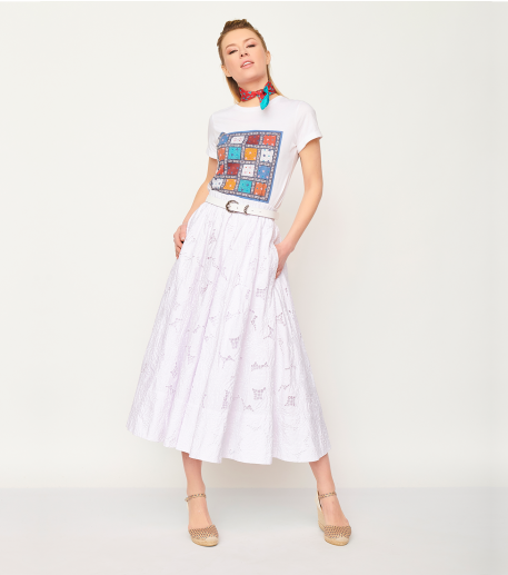 CANNES skirt english embroidery white