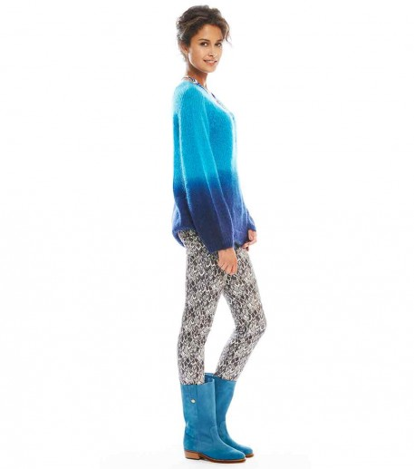 """neo grey """"feathers"""" print trousers"""