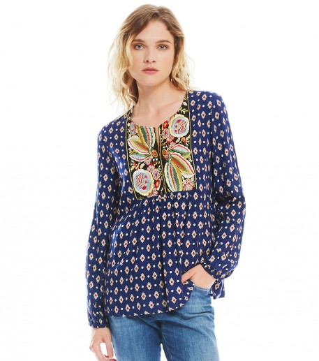 "frida navy ""marvel"" print blouse"