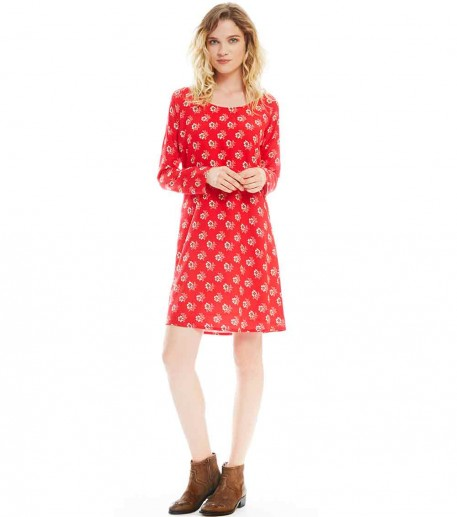 "pipa red ""little pansy""print tunic dress"
