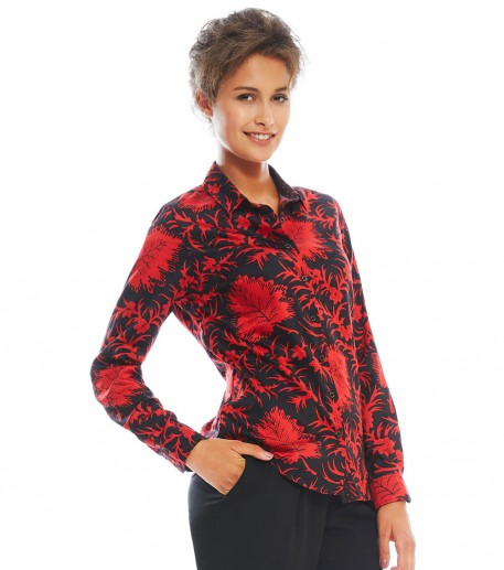 "calina black/red ""maple"" print shirt"