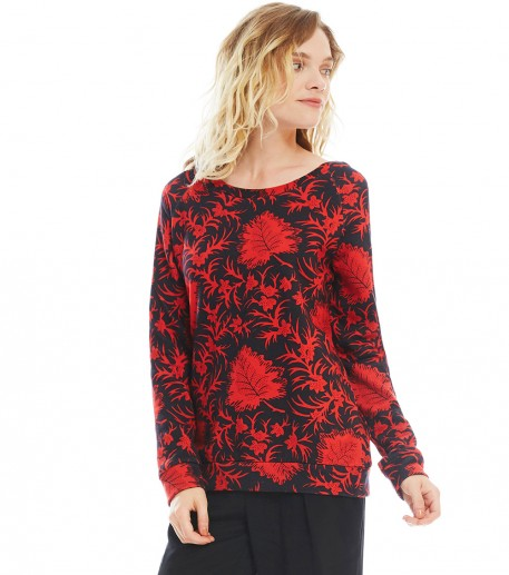 "jamie black/red ""maple"" print fleece sweatshirt"