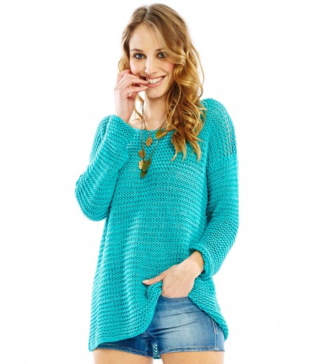 Paulo turquoise loose fit open stitch sweater