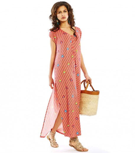 """Cesaria long loose fit coral """"Indian Song"""" dress"""
