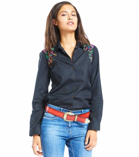 "Calina black shirt with ""Cymbalaire"" embroidery"