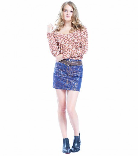 "Bella denim skirt two-tone navy/bronze ""Louis Jou"""