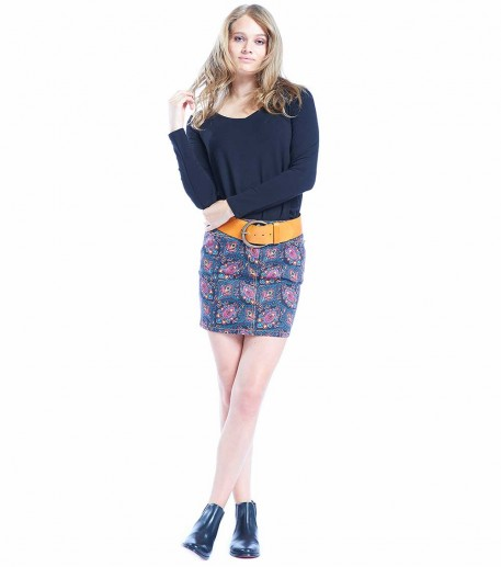 "Bella black denim skirt ""labyrinthe"""