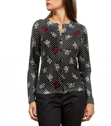 "Twin-set black silk and cashmere cardigan in ""Papillons"" print"