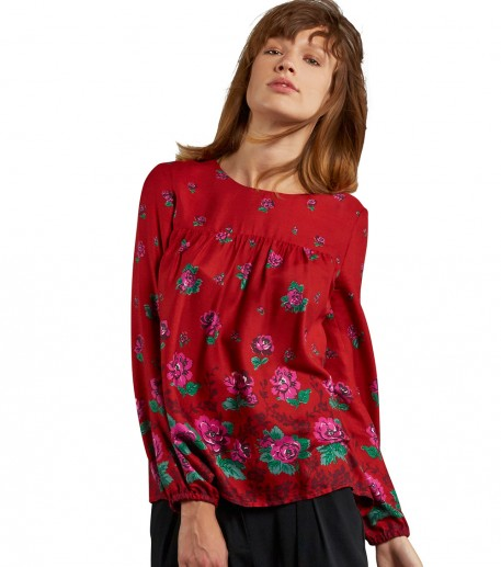 """""""Rosa"""" red and fuchsia Bagatelle blouse"""