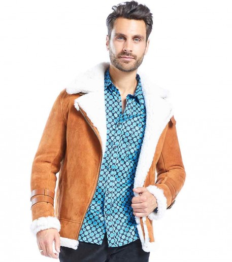 Cool men's light brown shearling bomber jacket