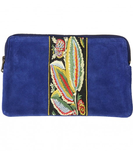 Embroidered blue leather clutch bag