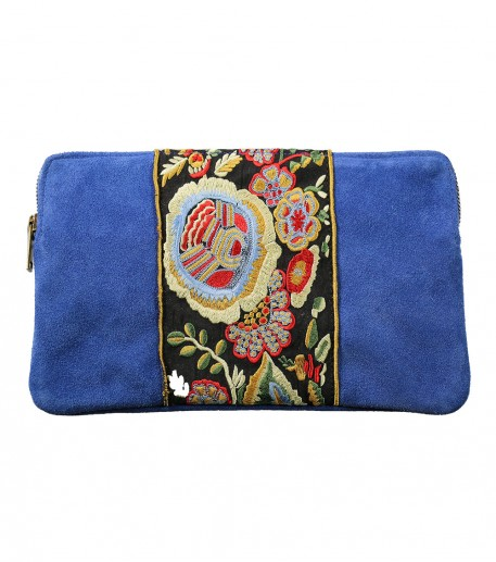 embroidered blue zip top calfskin leather clutch