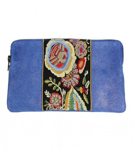 embroidered blue glitter zip top calfskin leather clutch