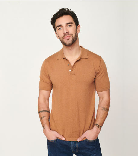Polo  MAXIME ocre intersia noir